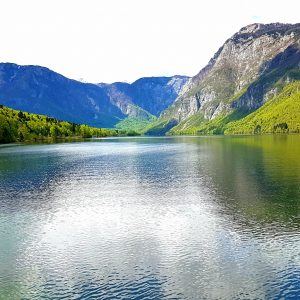 una panoramica del lago di Bohinj