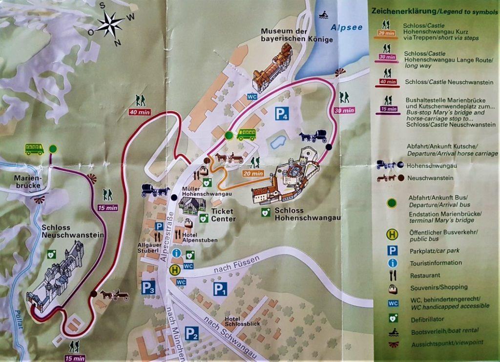 La mappa delle attrazioni di Schwangau con simboli e legenda