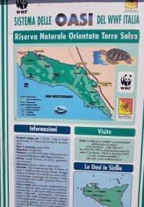 il cartello della Riserva Naturale Orientata Torre Salsa