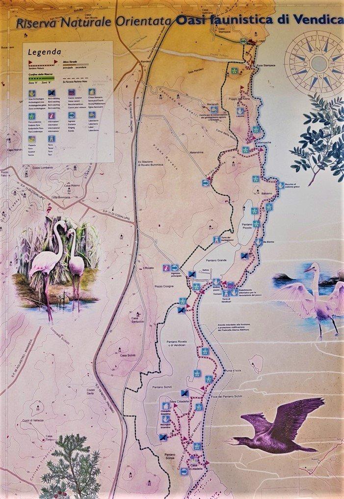 mappa Riserva Naturale Orientata Oasi Faunistica di Vendicari
