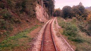 le rotaie del treno del foliage della ferrovia Vigezzina-Centovalli