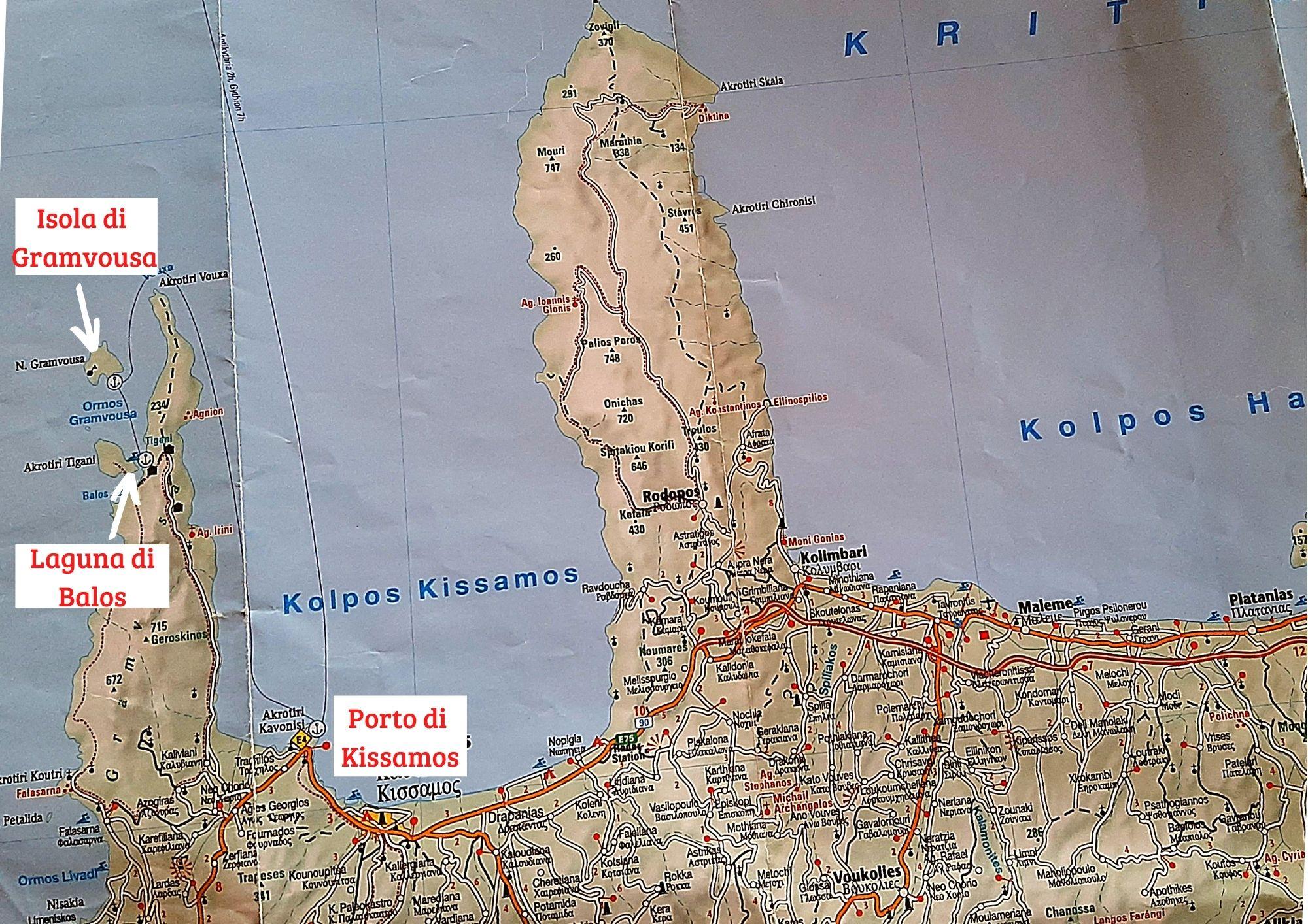 La mappa per arrivare alla laguna di Balos a Creta