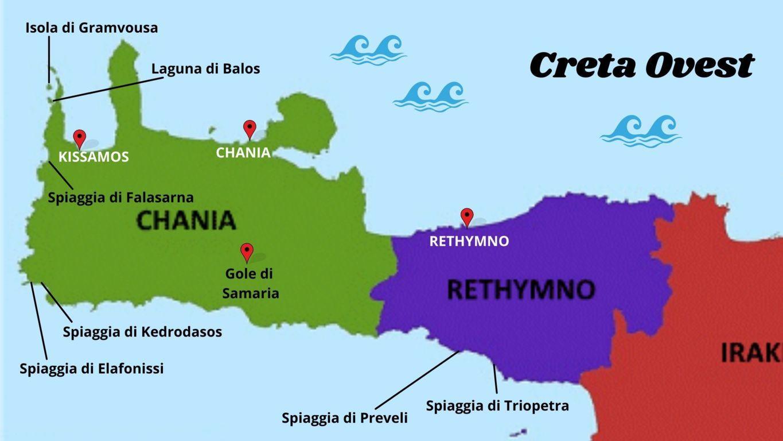 La mappa in italiano di Creta Ovest