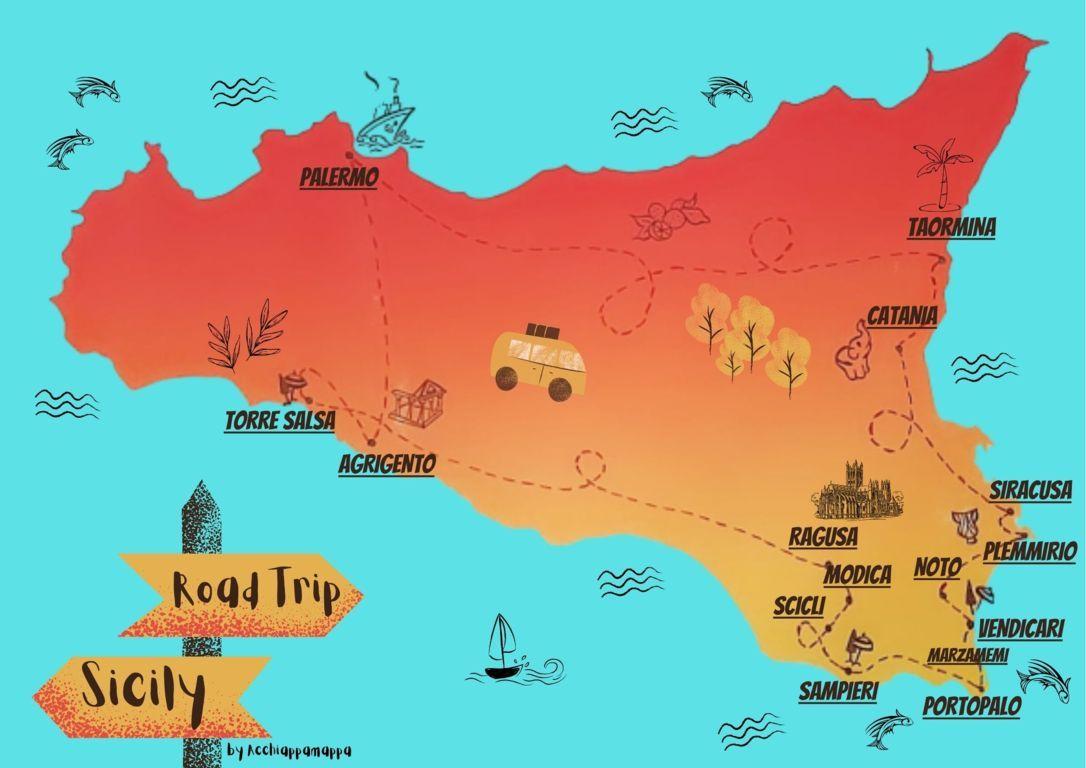 Cartina Sicilia Pdf.Sicilia Orientale Cosa Vedere Con Bambini Itinerario Con Mappa