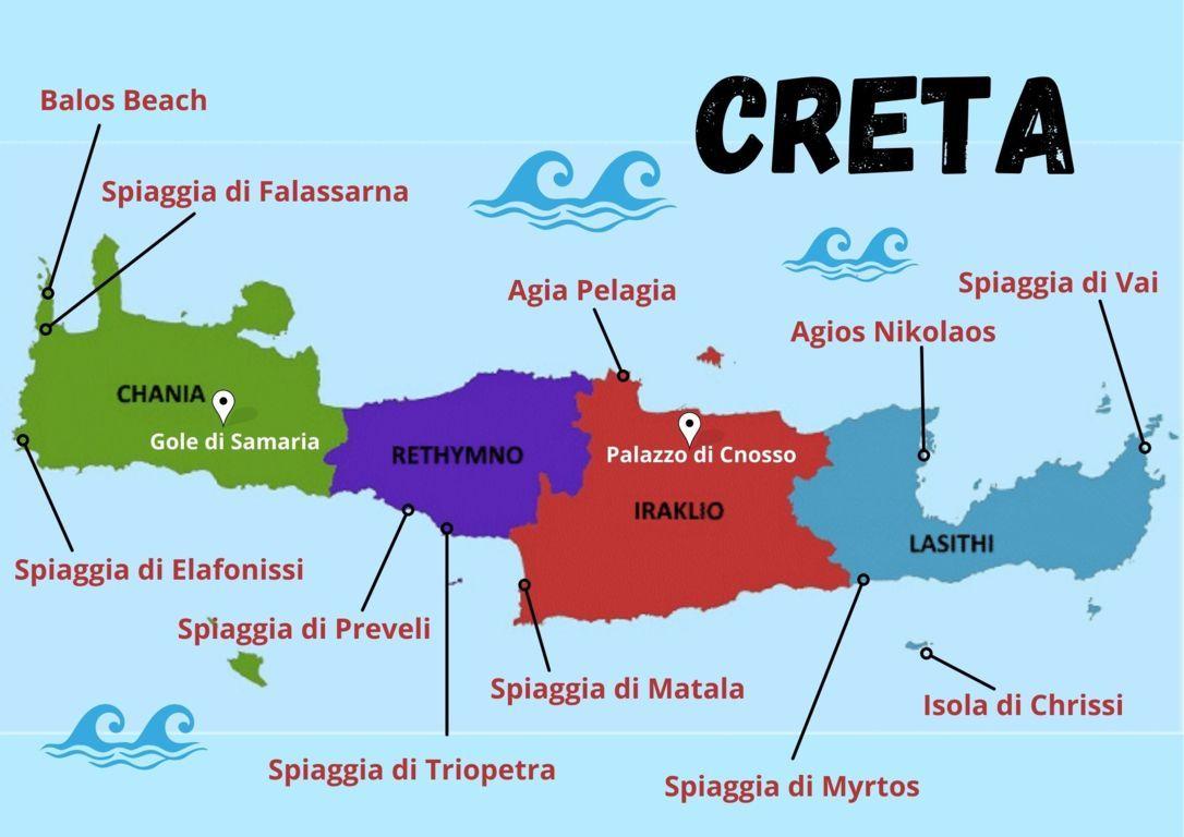 La mappa dell'itinerario delle spiagge di Creta con bambini