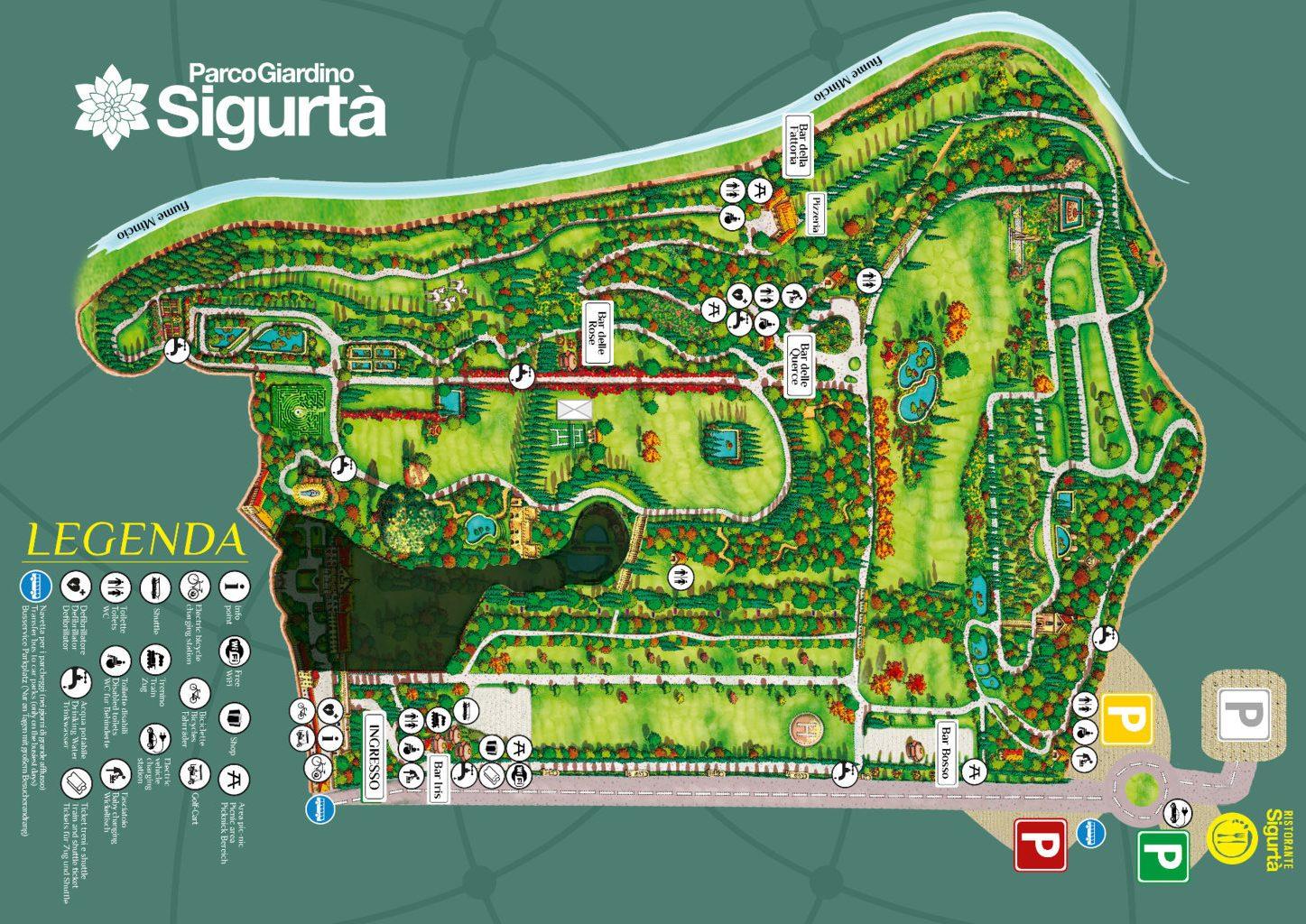 La mappa del Parco Sigurtà a Valeggio sul Mincio