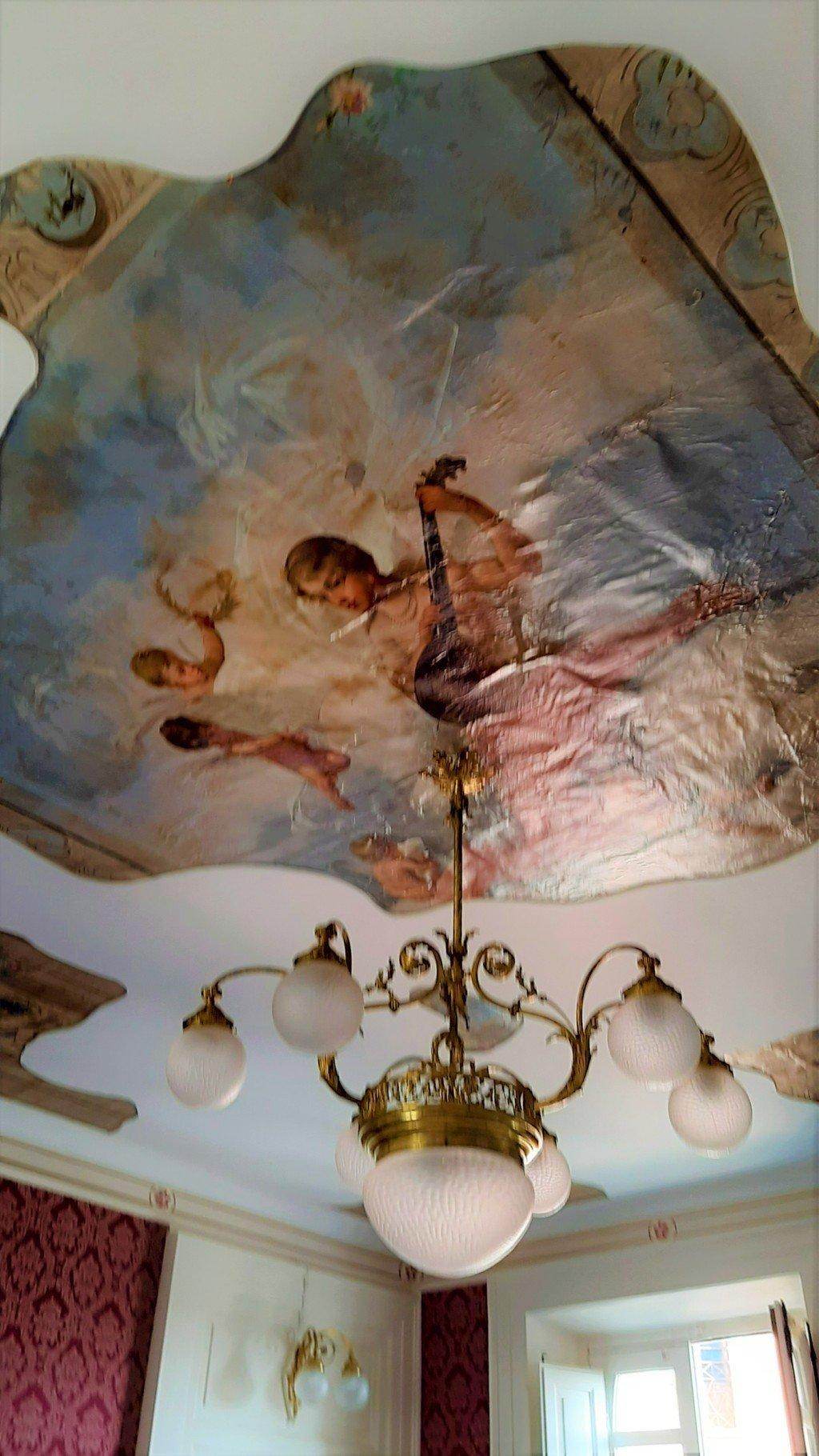Soffitto di carta dipinta scuola napoletana di fine Ottocento