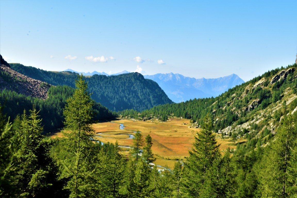 Il panorama della piana di Preda Rossa in Valmasino